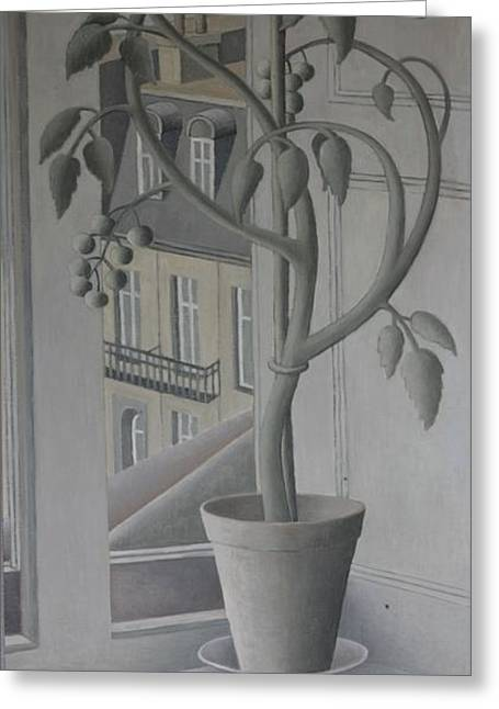Ledge Photographs Greeting Cards - Plant In Window, Oil On Panel Greeting Card by Ruth Addinall