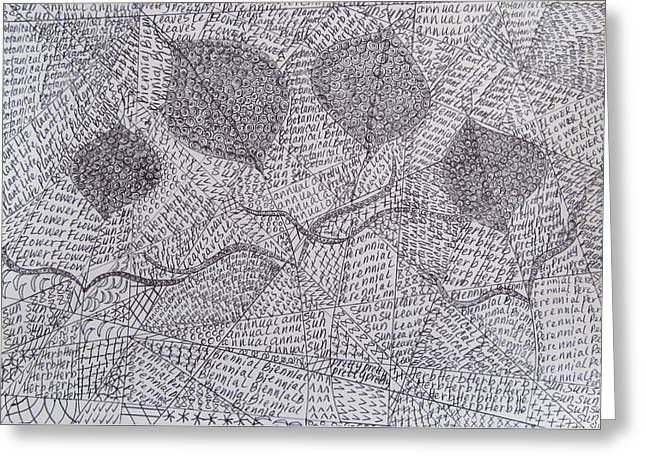Shower Head Drawings Greeting Cards - Plant Life and Words Greeting Card by Donna Wilson