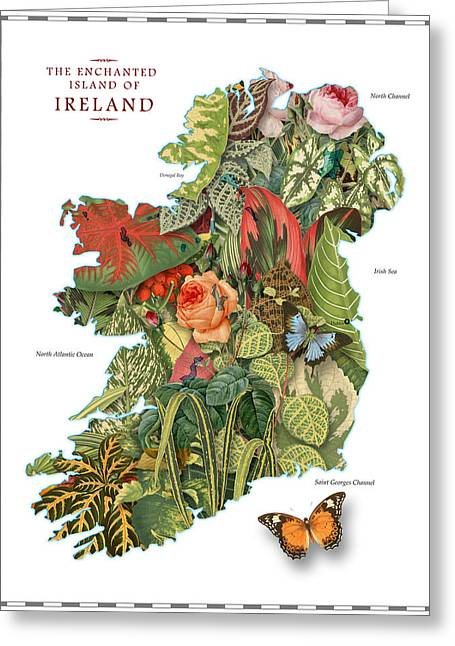 Atlas Greeting Cards - Plant Map of Ireland Greeting Card by Gary Grayson