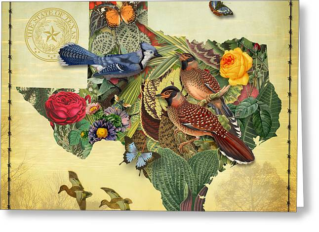 Atlas Greeting Cards - Plant Map of Texas Greeting Card by Gary Grayson