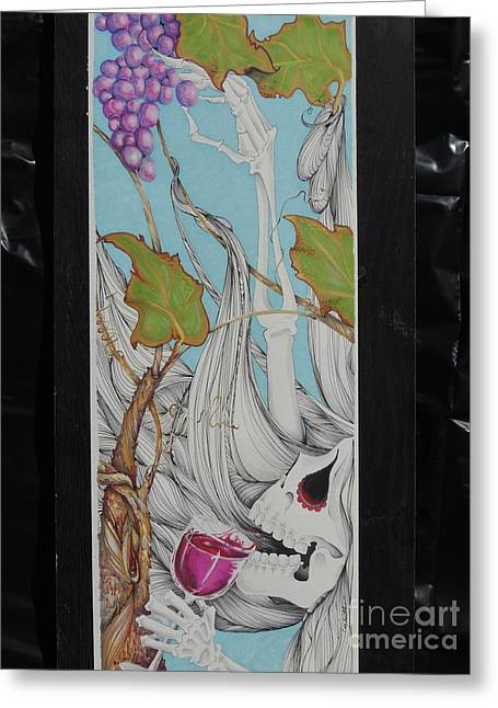 Grape Vines Drawings Greeting Cards - Plant me Near the Vine Greeting Card by Coy Lowther