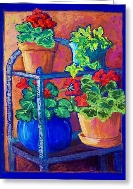 Blue Flowers Pastels Greeting Cards - Plant Stand Greeting Card by Candy Mayer