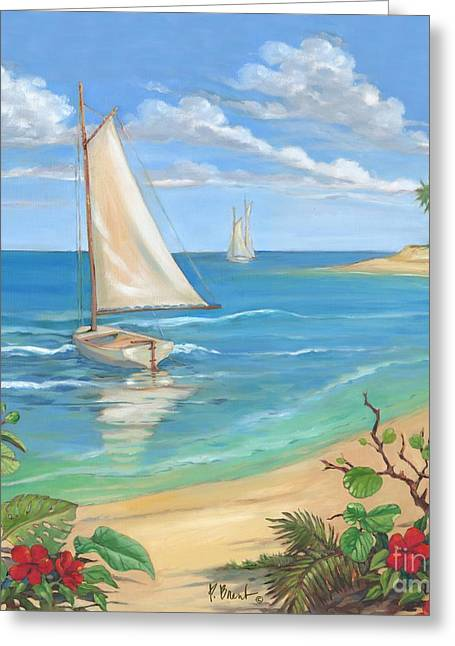 Blue Sailboat Greeting Cards - Plantation Key Sailboat Greeting Card by Paul Brent