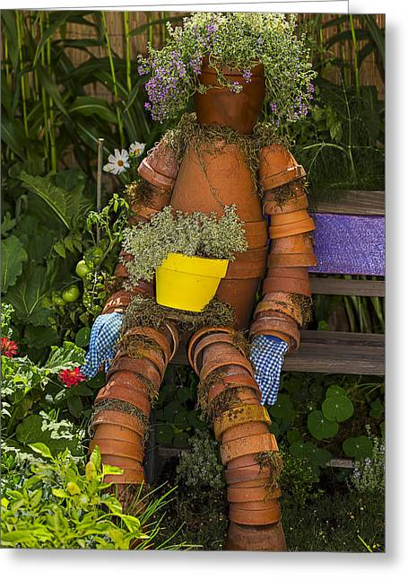 Planter Greeting Cards - Planter Pot Man Greeting Card by Garry Gay
