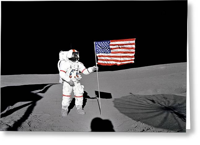 Space Race Greeting Cards - Planting of the Flag  Greeting Card by World Art Prints And Designs