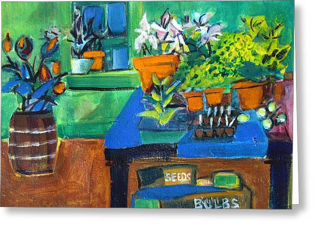 Plants In Potting Shed Greeting Card by Betty Pieper