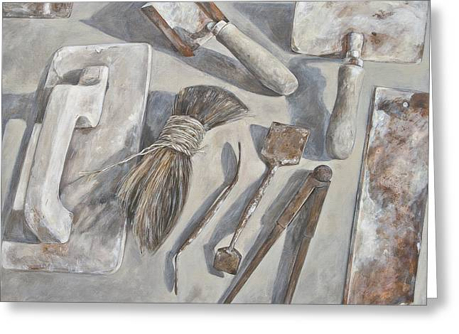 Plasterer tools 1 Greeting Card by Anke Classen
