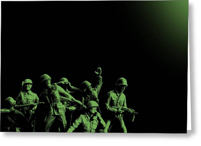 Alternative Home Decor Greeting Cards - Plastic Army Man Battalion Black and Green Greeting Card by Tony Rubino