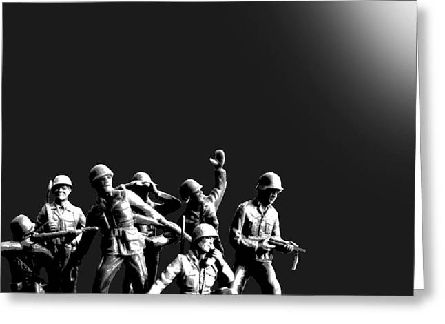 Alternative Home Decor Greeting Cards - Plastic Army Man Battalion Black and White Greeting Card by Tony Rubino