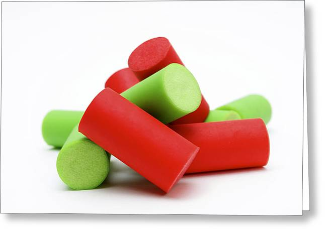 Color Green Greeting Cards - Plastic corks Greeting Card by Bernard Jaubert