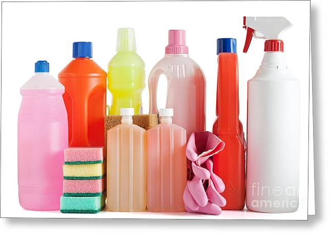 Wash Pail Greeting Cards - Plastic Detergent Bottles Greeting Card by Antonio Scarpi