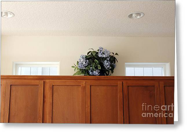 Floral Embellishment Greeting Cards - Plastic Flowers on Cabinets Greeting Card by Lee Serenethos