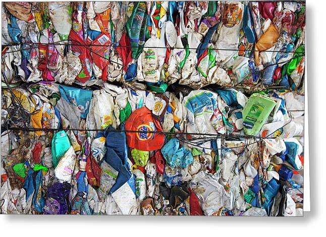 Plastic Packaging At A Recycling Centre Greeting Card by Peter Menzel