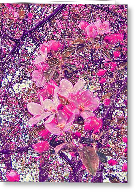 Enhanced Mixed Media Greeting Cards - Plastic Wrapped Crabapple Blossom Greeting Card by Minding My  Visions by Adri and Ray