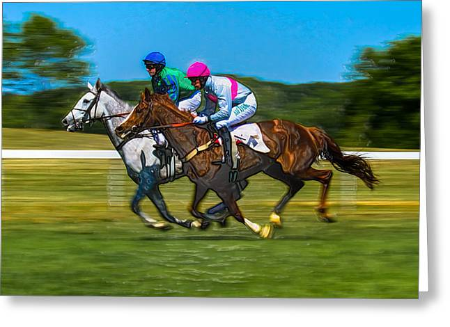 Steeplechase Race Greeting Cards - Plastic Wrapped Steeplechase Greeting Card by Robert L Jackson