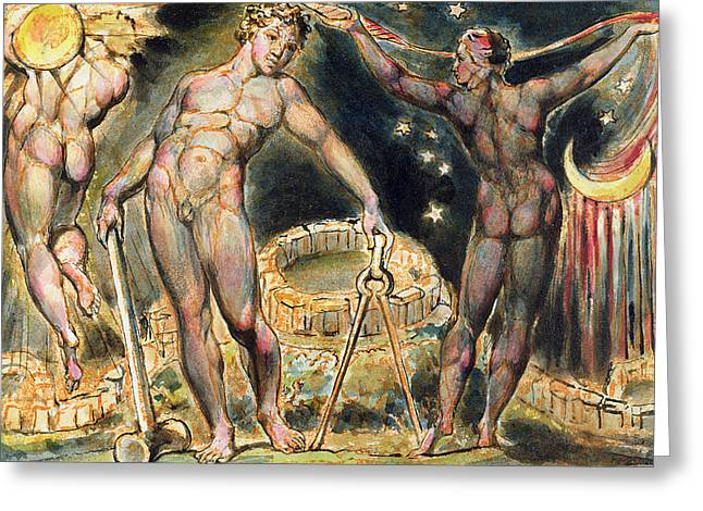 Shoulder-fired Greeting Cards - Plate 100 from Jerusalem Greeting Card by William Blake