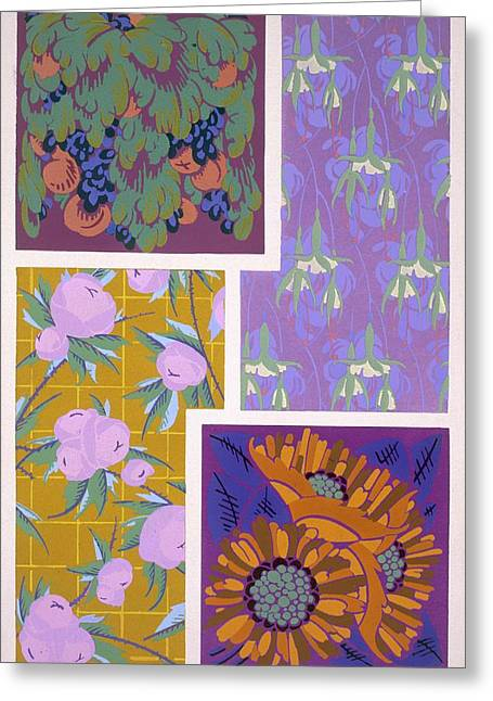 Grapes Deco Drawings Greeting Cards - Plate 11, From Forms And Colours, C.1930 Greeting Card by Auguste H. Thomas