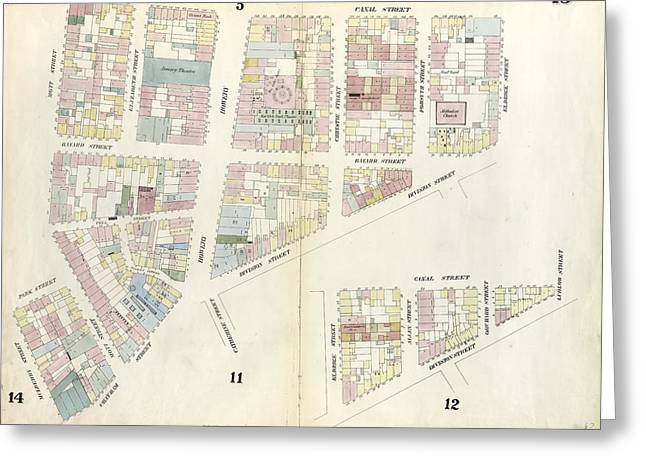Plate 13 Map Bounded By Canal Street, Division Street Greeting Card by Litz Collection