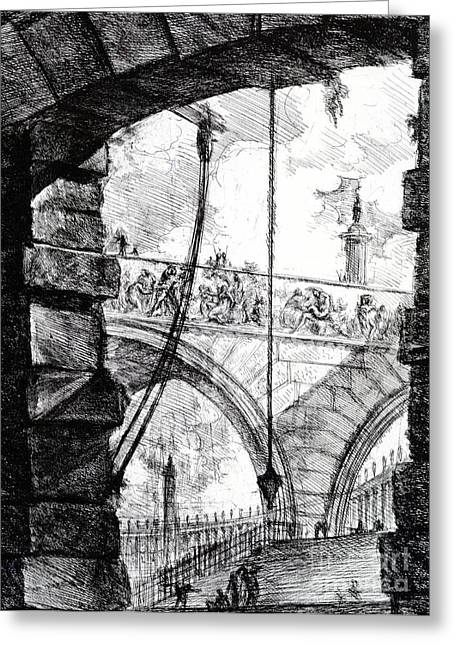 Structure Drawings Greeting Cards - Plate 4 from the Carceri series Greeting Card by Giovanni Battista Piranesi