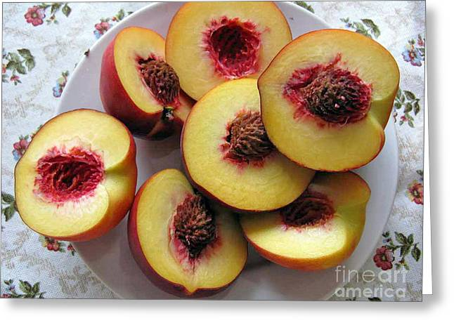 Bakery Poster Greeting Cards - Plate Of Peach Greeting Card by Ausra Paulauskaite