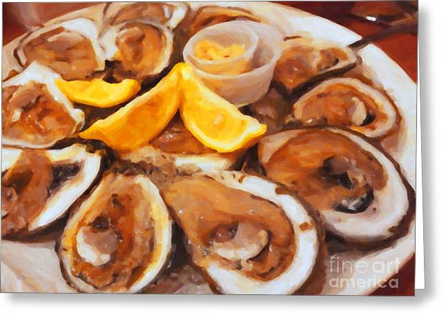 Aphrodisiac Greeting Cards - Plate of Raw Oysters - Painterly Greeting Card by Wingsdomain Art and Photography