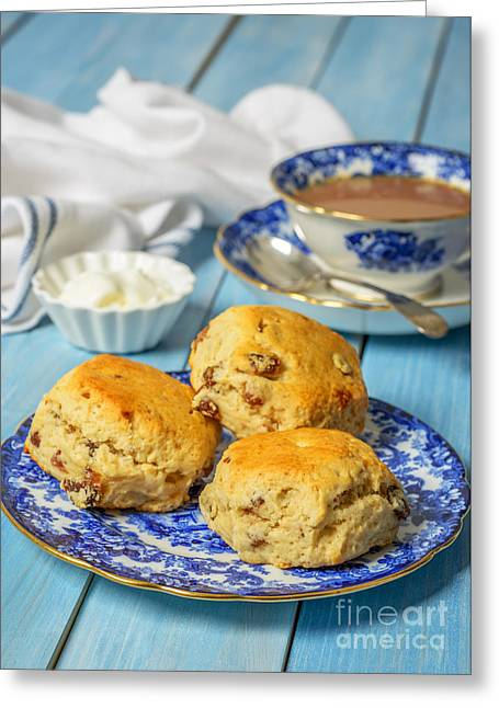 Table Cloth Greeting Cards - Plate Of Scones Greeting Card by Amanda And Christopher Elwell