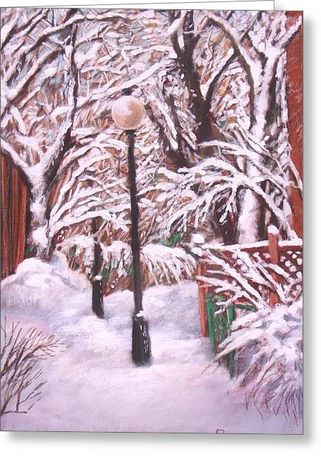 Streetlight Pastels Greeting Cards - Plateau Alley Greeting Card by Rose Wark