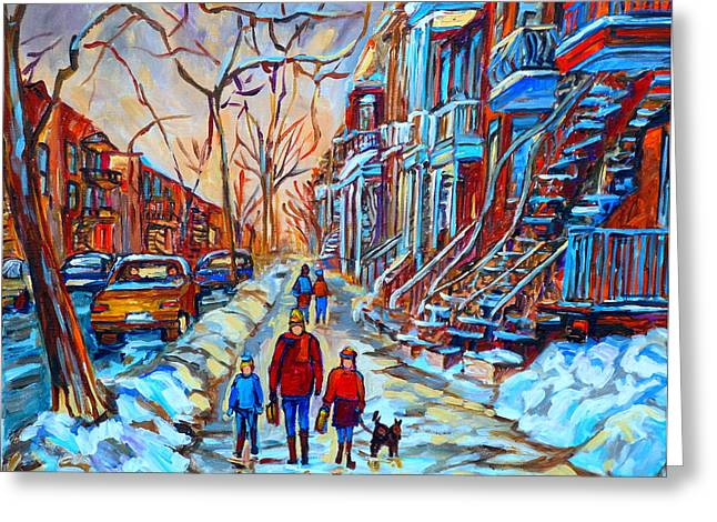The Plateaus Paintings Greeting Cards - Plateau Montreal Street Scene Greeting Card by Carole Spandau