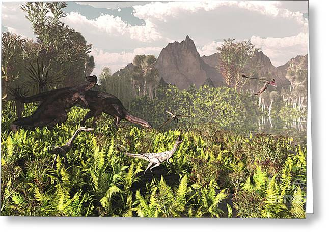 Triassic Greeting Cards - Plateosaurus And Ceolophysis Dinosaurs Greeting Card by Arthur Dorety