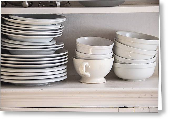 Cupboard Greeting Cards - Plates and Bowls Greeting Card by Garry Gay