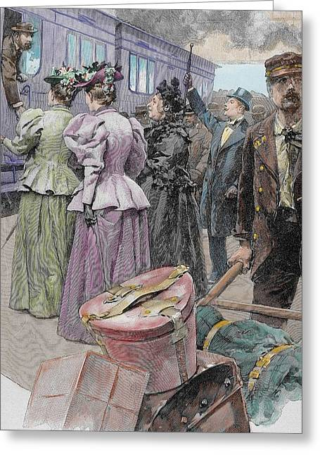 Departure Greeting Cards - Platform At A Railway Station, Late 19th Century Engraving Later Colouration Greeting Card by Ludovico Marchetti