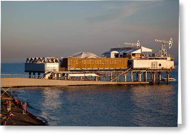 Sea Platform Greeting Cards - Platform Nightclub, Lighthouse Beach Greeting Card by Panoramic Images