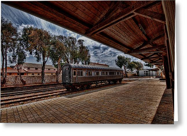 Kabbalistic Greeting Cards - platform view of the first railway station of Tel Aviv Greeting Card by Ron Shoshani
