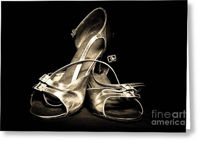 Footgear Greeting Cards - Platinum Dancing Shoes Greeting Card by Phill Petrovic
