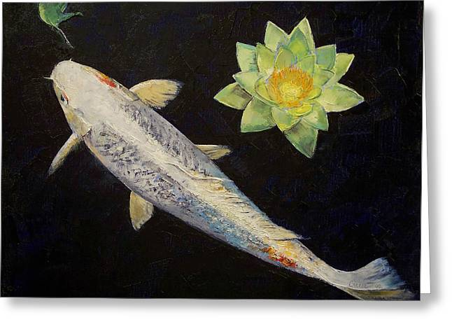 Japanese Koi Greeting Cards - Platinum Ogon Koi Greeting Card by Michael Creese