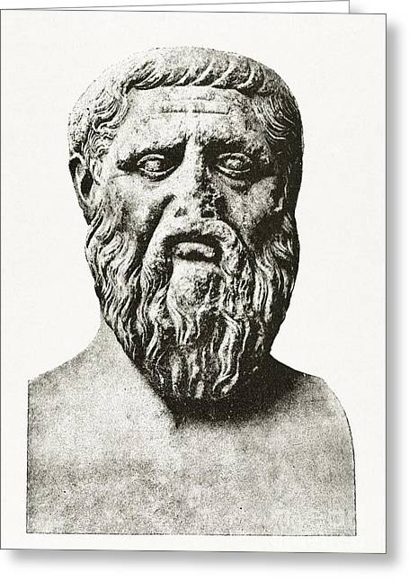 Dialogue Greeting Cards - Plato, Ancient Greek Philosopher Greeting Card by Middle Temple Library