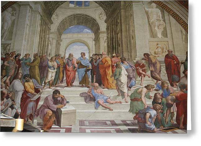 Plato Greeting Cards - Plato is a portrait of Leonardo da Vinci Greeting Card by Celestial Images