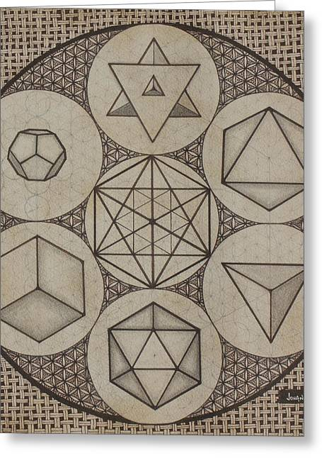 Platonic Greeting Cards - Platonic Solids Greeting Card by Johana Toro