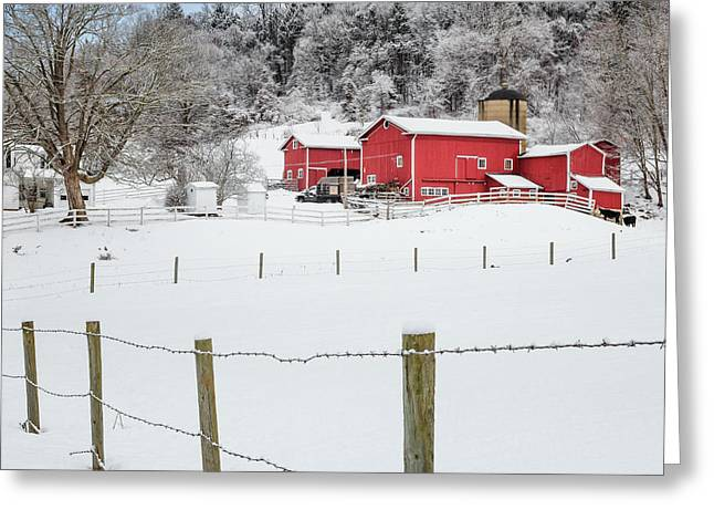 New England Snow Scene Greeting Cards - Platt Farm Square Greeting Card by Bill  Wakeley