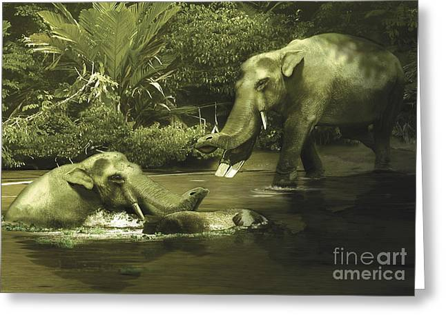 Stream Digital Art Greeting Cards - Platybelodon Grazing On Water, Weeds Greeting Card by Jan Sovak