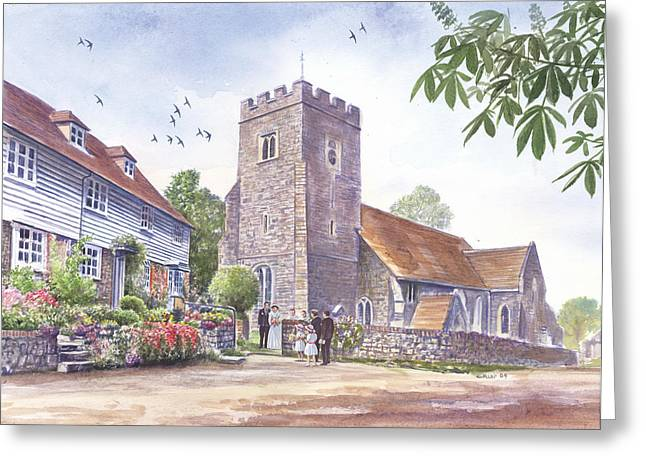 Crisp Greeting Cards - Plaxtol church wedding Greeting Card by Steve Crisp