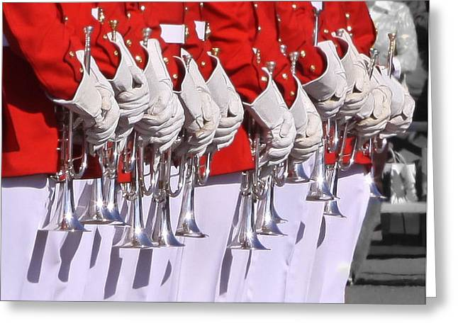 Marching Band Greeting Cards - Play A Patriotic Song Greeting Card by Cindy Archbell