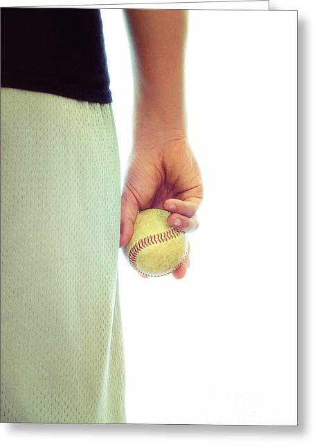 Caucasion Greeting Cards - Play Ball Greeting Card by Birgit Tyrrell