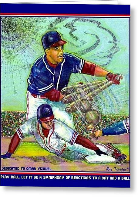 Collectible Sports Art Drawings Greeting Cards - Play Ball dedicated to Omar Vizquel Greeting Card by Ray Tapajna