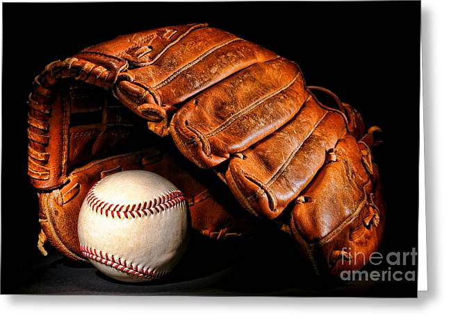 Softball Mitt Greeting Cards - Play Ball Greeting Card by Olivier Le Queinec