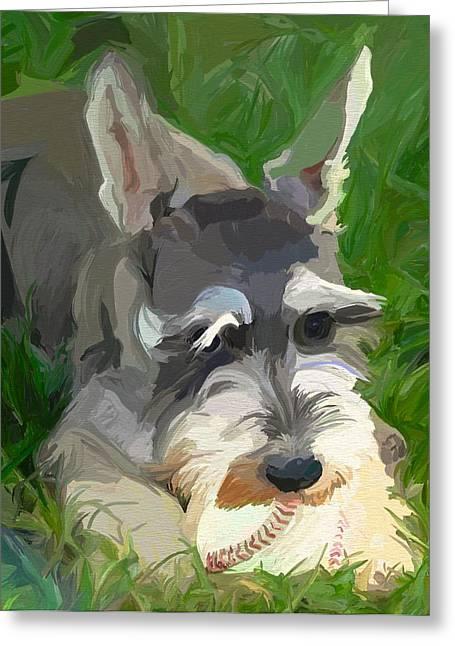 Baseball Paintings Greeting Cards - Play Ball Greeting Card by Patti Siehien
