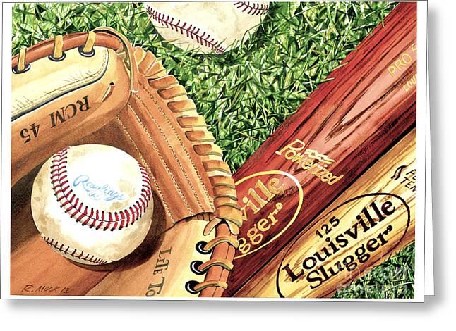 Play Ball Greeting Card by Rick Mock