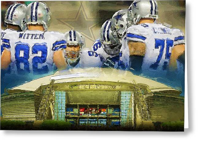 Pro Football Paintings Greeting Cards - Play Calling Cowboys Greeting Card by John Farr