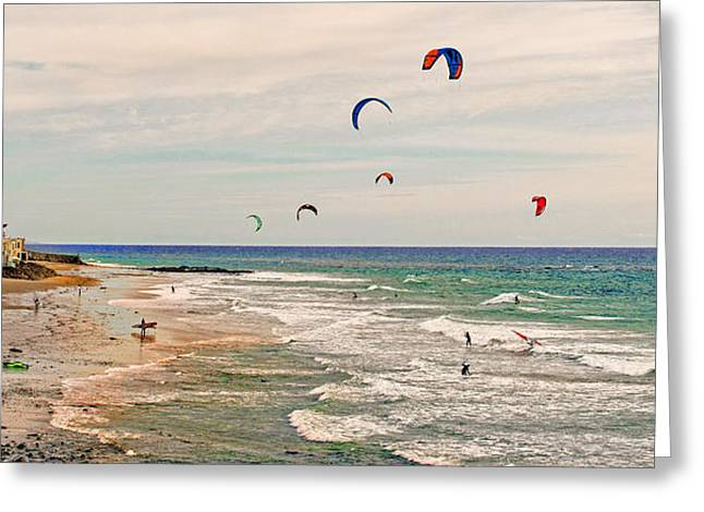 Kite Boarding Greeting Cards - Play Day at County Line Beach Greeting Card by Lynn Bauer