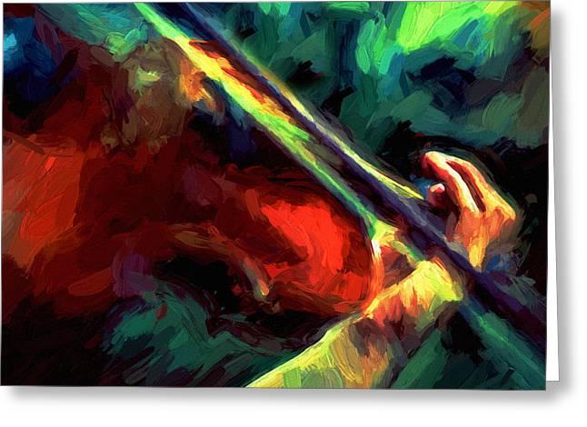 Violin Bows Violin Bows Greeting Cards - Play Gypsy Play - Abstract Realism Greeting Card by Georgiana Romanovna